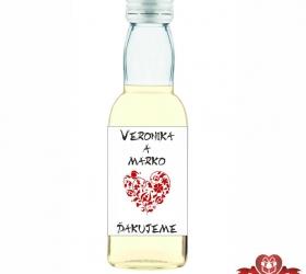 Svadobná mini fľaštička s alkoholom, motív S133