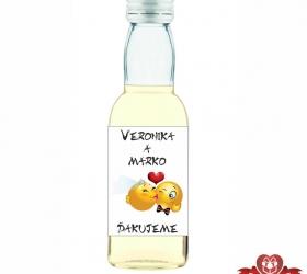 Svadobná mini fľaštička s alkoholom, motív S158