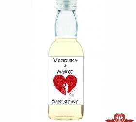 Svadobná mini fľaštička s alkoholom, motív S162