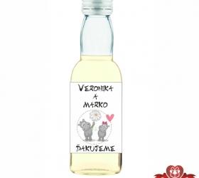 Svadobná mini fľaštička s alkoholom, motív S221