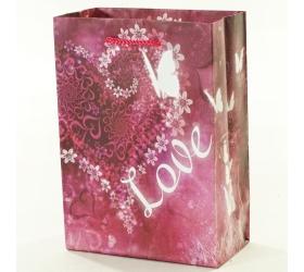 Darčeková taška love fialová 11,5x6x16cm