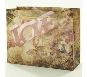 Darčeková taška love ružová 32x11x25,5cm