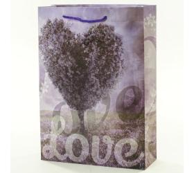 Darčeková taška purpurové srdce 25x8,5x34,5cm
