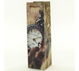 Darčeková taška vintage hodinky 10x10x35cm