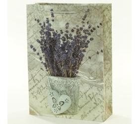 Darčeková taška vintage váza levanduľa 25x8,5x34,5cm
