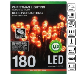 LED svetielka 180ks red +menič