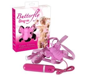 Vibrátor pripínací motýlik - pink
