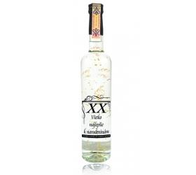 Darčeková fľaša vodka (borovička) - so zlatom - narodeniny priehľadná (0-99)