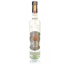 Darčeková fľaša - vodka (borovička) so zlatom narodeniny kovová etiketa (0-90)