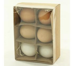 Vajíčka v krabici 6 cm natur / biele mix