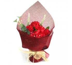 Stojaca mydlová kytica - červená