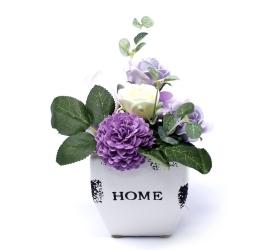 Malá mydlová kytica v kvetináči - fialová