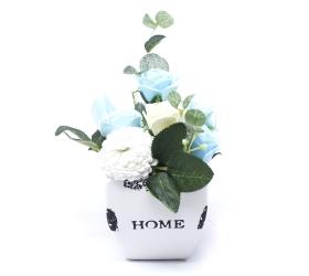 Malá mydlová kytica v kvetináči - modrá