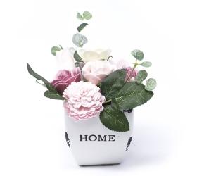 Malá mydlová kytica v kvetináči - ružová