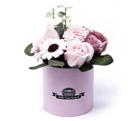 Malá Mydlová Kytica v Darčekovej Krabici - Ružová