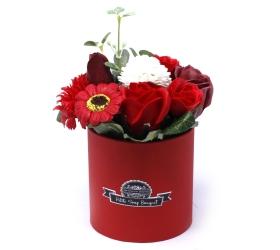 Malá mydlová kytica v darčekovej krabici - červená