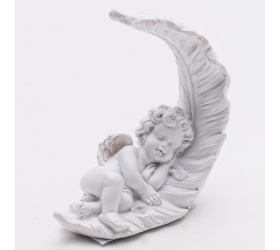 Anjel pierko biely barok mini 7,6x3x8,6cm