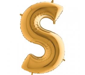 Balón písmeno S zlaté 100 cm