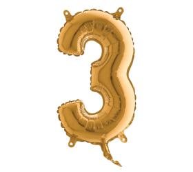 Balón číslo malé 3 zlatá