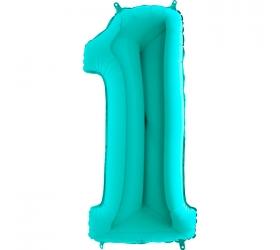 Balón číslo 1 tyrkys 66 cm