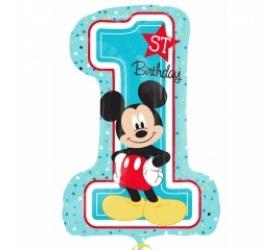 Balón číslo 1 Mickey Mouse 48x71 cm