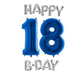Narodeninový set balónov 18 modrá / strieborná