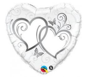 Balón na Svadbu - Q Entwined Hearts Silver
