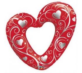 Balón na Svadbu - Q Hearts & Filigree Red