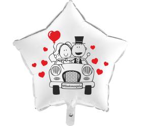Balón Svadobné Auto biela hviezda