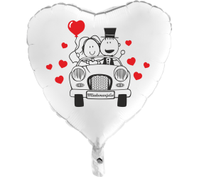 Balón Svadobné Auto biele srdce
