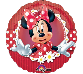 Balón Minnie červená s margarétkami