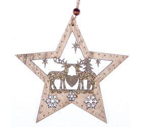 Dekorácia drevená závesná hviezda