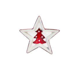Vianočná dekorácia Hviezda keramická červená